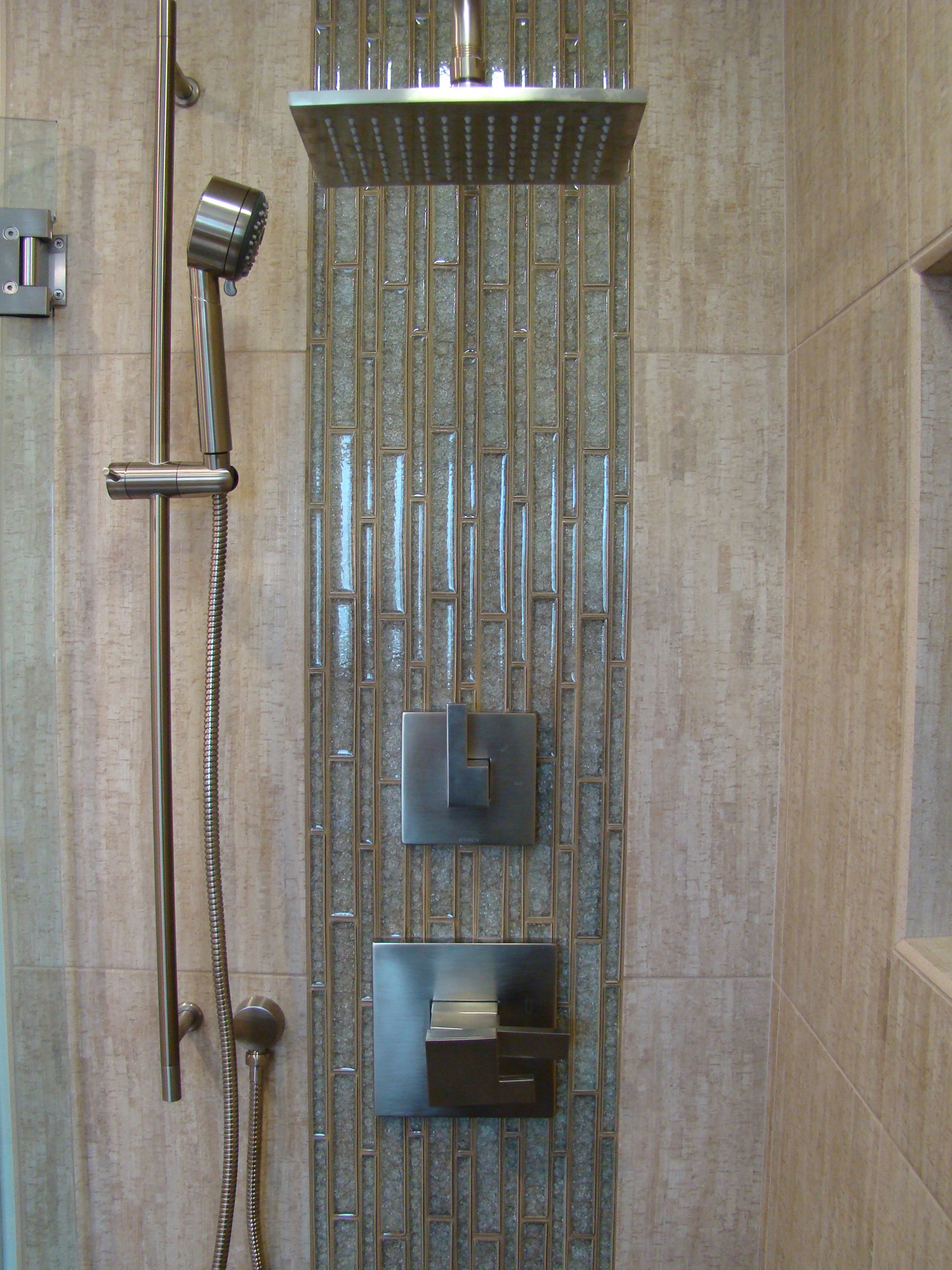 Fiorito Interior Design, interior design, remodel, bathroom, tropical, shower, pebble shower pan, crackle glass mosaic, modern shower head
