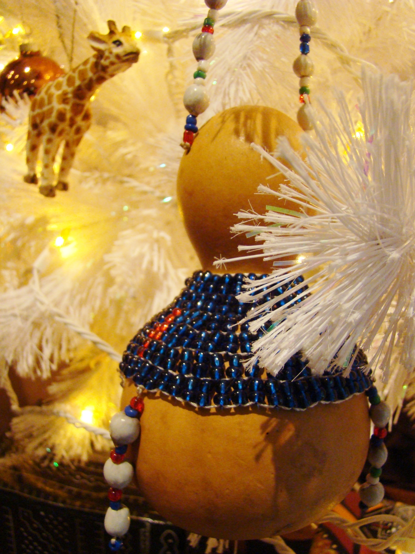 Fiorito Interior Design, interior design, Homes For The Holidays, African, holiday tree, gourd ornament