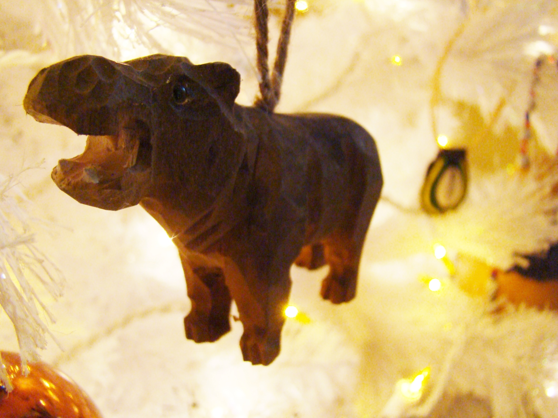 Fiorito Interior Design, interior design, Homes For The Holidays, African, holiday tree, carved wooden hippo ornament